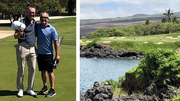 Men playing golf, scenic photo of Hawaii